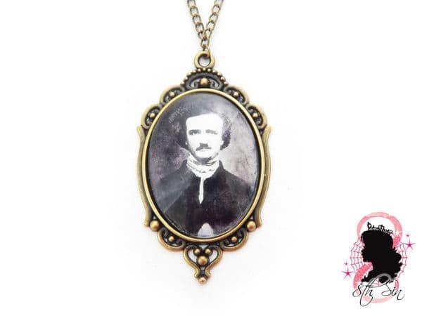 Antique Bronze Edgar Allan Poe Necklace